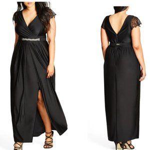 City Chic Flirty Drape Maxi Dress Black Stretchy